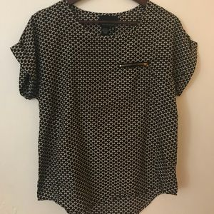 Cynthia Rowley Patterned Short Sleeve Blouse